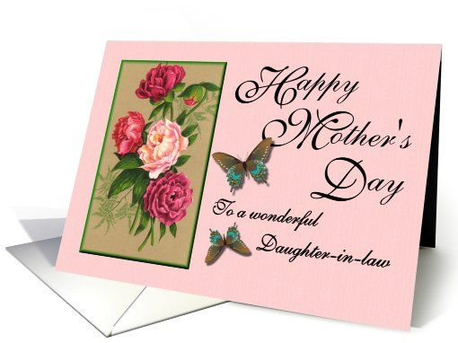 Happy Mother S Day To A Wonderful Daughter In Law Peonies Butterflies Card Happy Mothers Day Mothers Day Cards Butterfly Cards