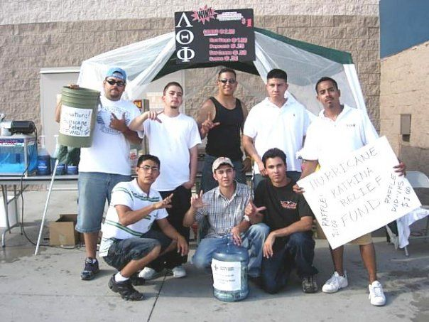 When I first met my husband, it was not at a bar or through a mutual friend. It was at a fundraiser the fraternity was doing for the Katrina Victims. <3