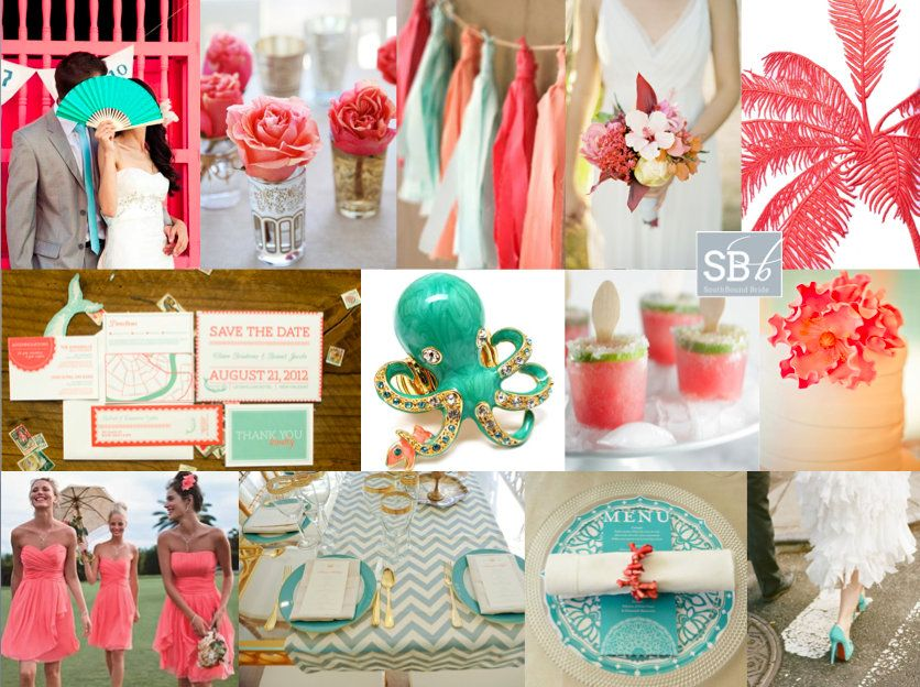 Inspiration Board: Tropical Coral & Mint | Color combos, Teal and ...