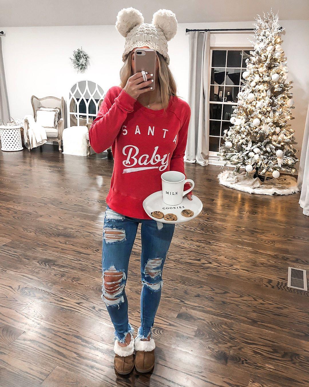 "� � � � � � � � � � � � � on Instagram: ""Santa baby �� My sweatshirt is under $20 & super comfy!! && can we talk about this milk & cookie set?! Under $20 && so stinkin cute!! Ps.…"""