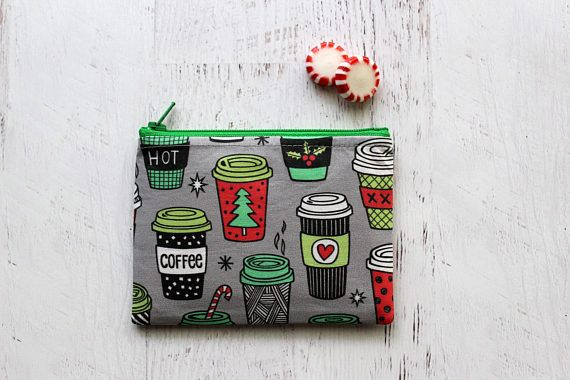 Coffee lovers gift cute coffee cups small change purse   Holiday ...
