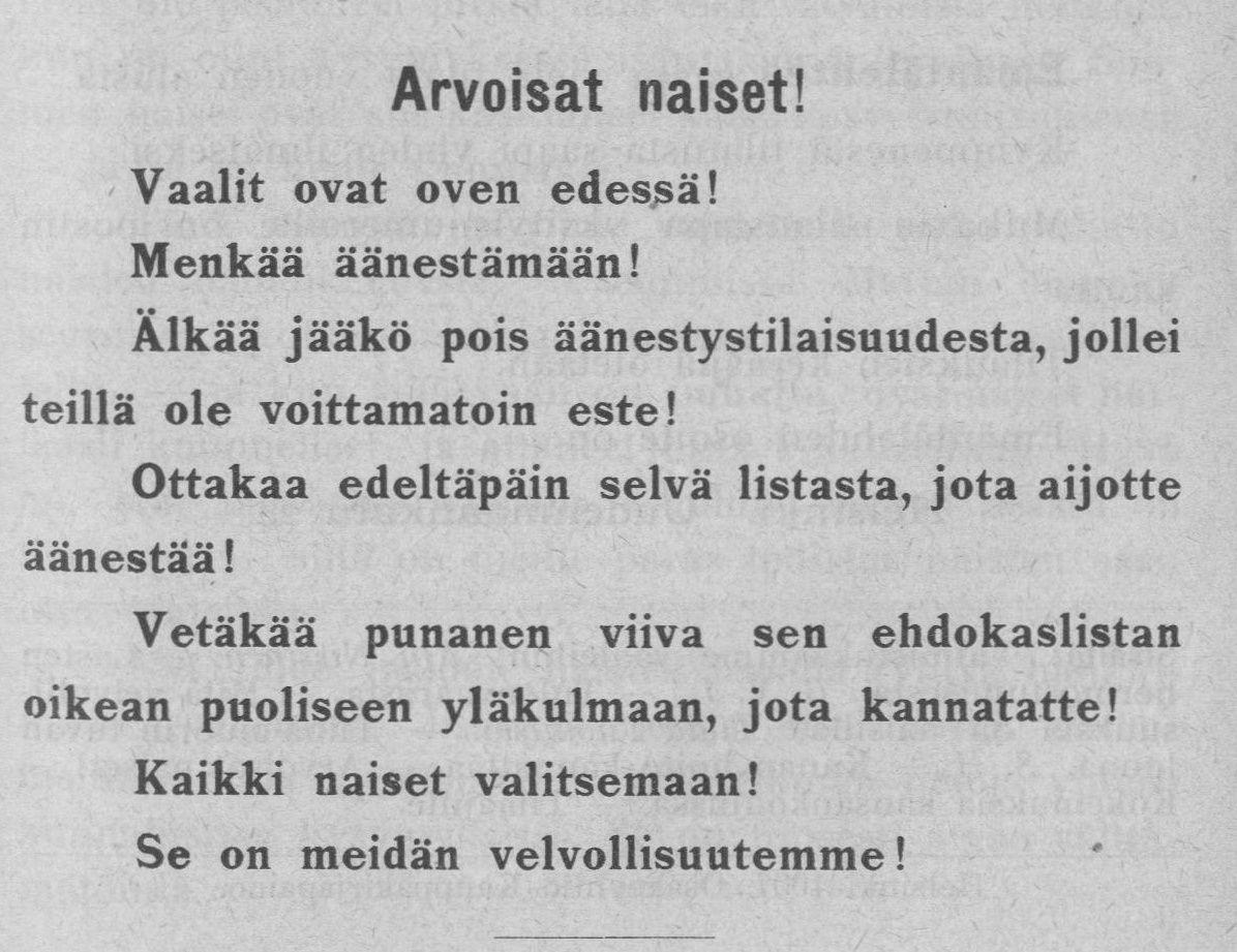Arvoisat naiset!, 01.03.1907 Emäntälehti : Martta-yhdistyksen äänenkannattaja no 3 - (Äänioikeus v. 1906)