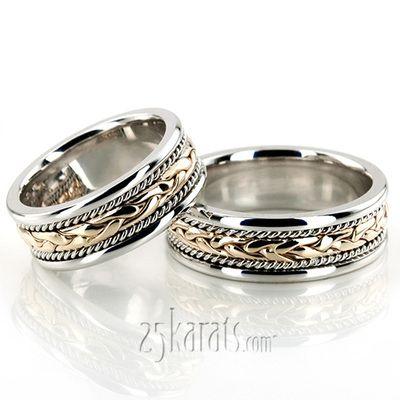Braided Handmade Wedding Ring Set