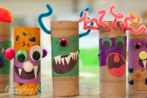 Kids Halloween Craft Toilet Paper Tube Monsters by Everyday Art - how to make halloween decorations for kids