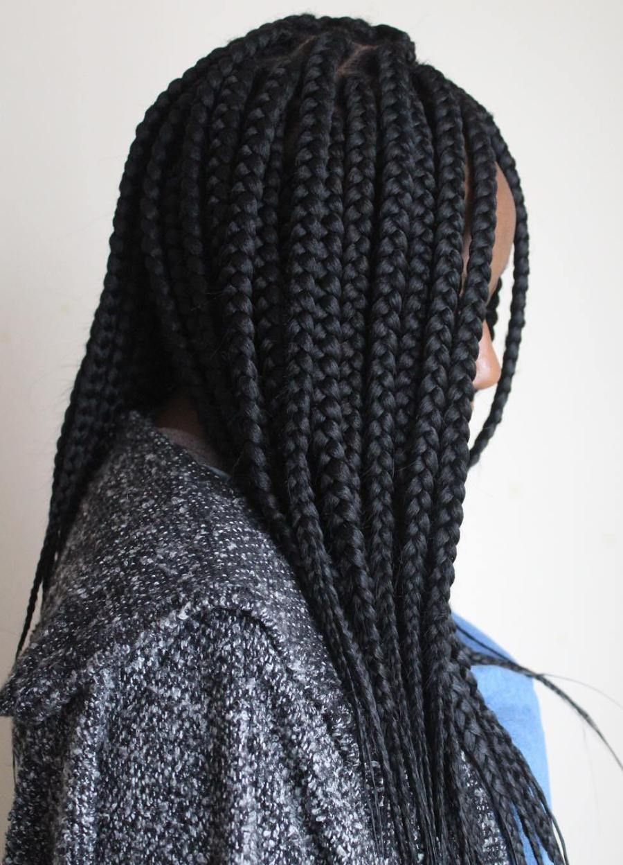 Box braids with feather tips classic box braid hairstyles pinterest