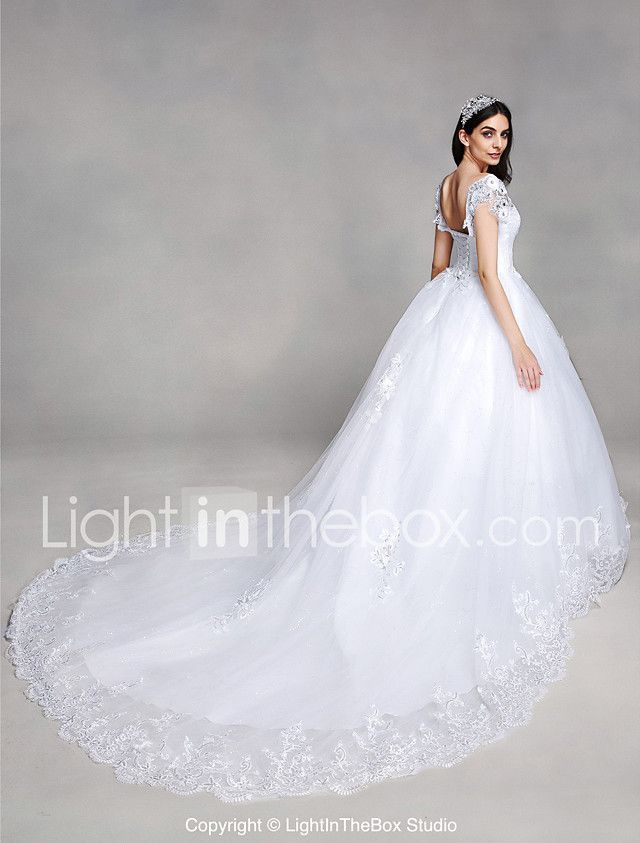 00561b78101 A-line Wedding Dress Vintage Inspired Chapel Train V-neck Lace Tulle with  Appliques Sequin Beading 2017 -  149.99