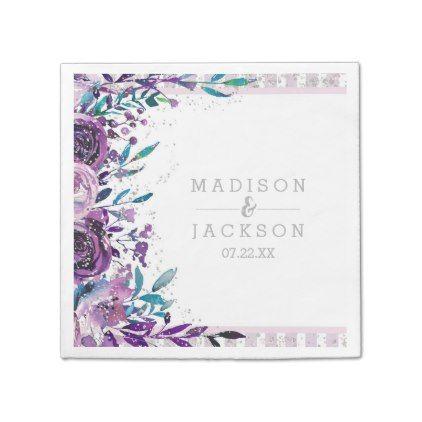 Chic Purple Fl Silver Monogram Wedding Paper Napkin