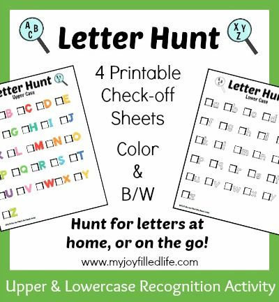 picture about Letter Recognition Games Printable known as Printable Letter Scavenger Hunt Sheets Finding out Small children