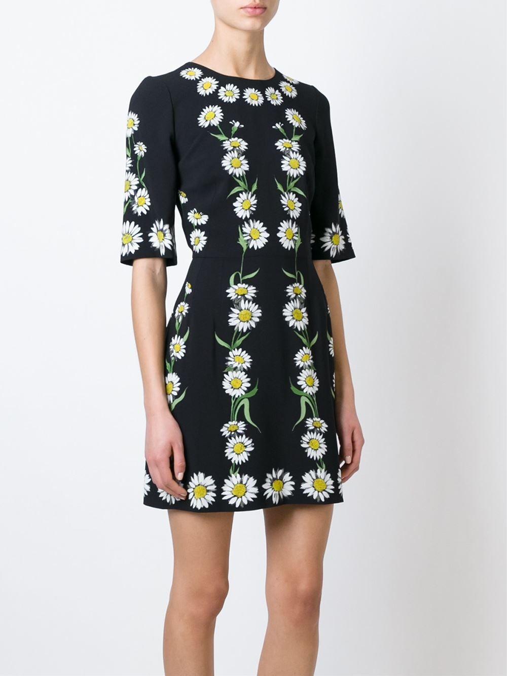 9ad15a9d7 Dolce   Gabbana Vestido evasê com estampa de margaridas