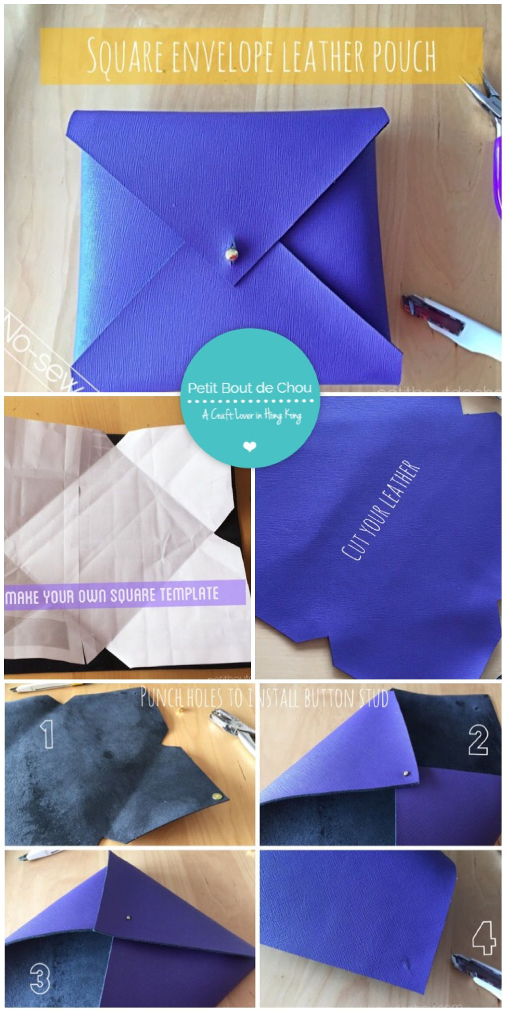 Easy no-sew DIY: square envelope leather pouch with free pattern ...