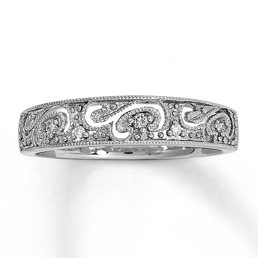 milgrain finished waves of white gold accented by round diamonds flow throughout this eye catching fine jewelry diamond ring for her - White Gold Wedding Rings For Women