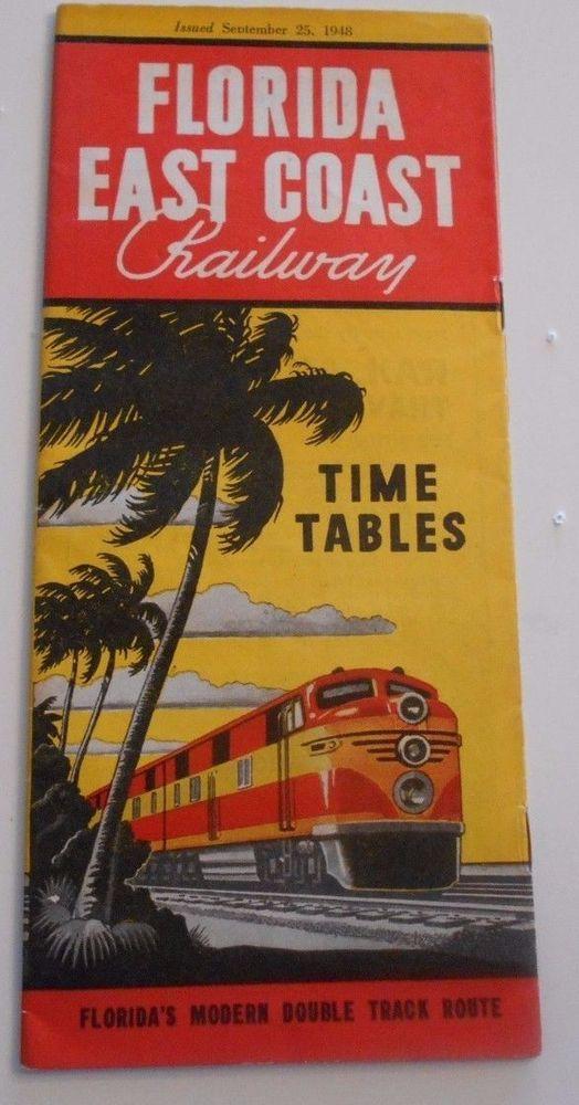 Map Of East Coast Of Florida.Florida East Coast Railroad Timetable September 25 1948 Ads Maps