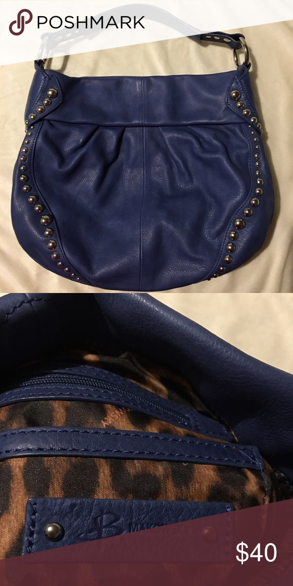 B Makowsky purse Agh. The smell of genuine leather. Nice royal blue studded purse. Never been used. Cheetah print inside. Piog b. makowsky Bags Shoulder Bags