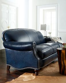navy leather | interior in 2019 | Blue leather sofa, Blue leather ...