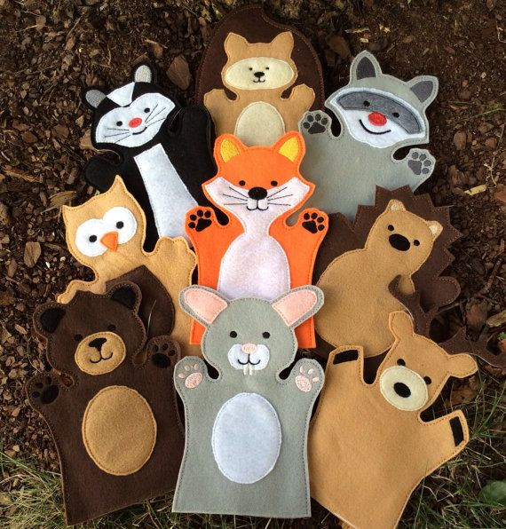 Woodland Animals Felt Puppet Set , Woodland Play Set - Adult, Kid, AND Finger Puppet Sizes - Sold Individually or as a Set #handpuppets