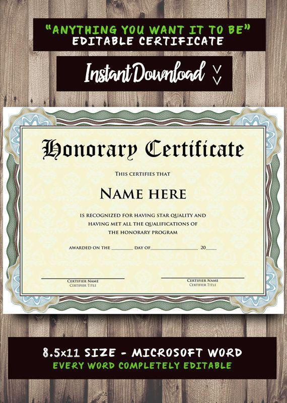 Printable certificate template microsoft word editable template printable certificate template microsoft word editable template instant download yelopaper Gallery