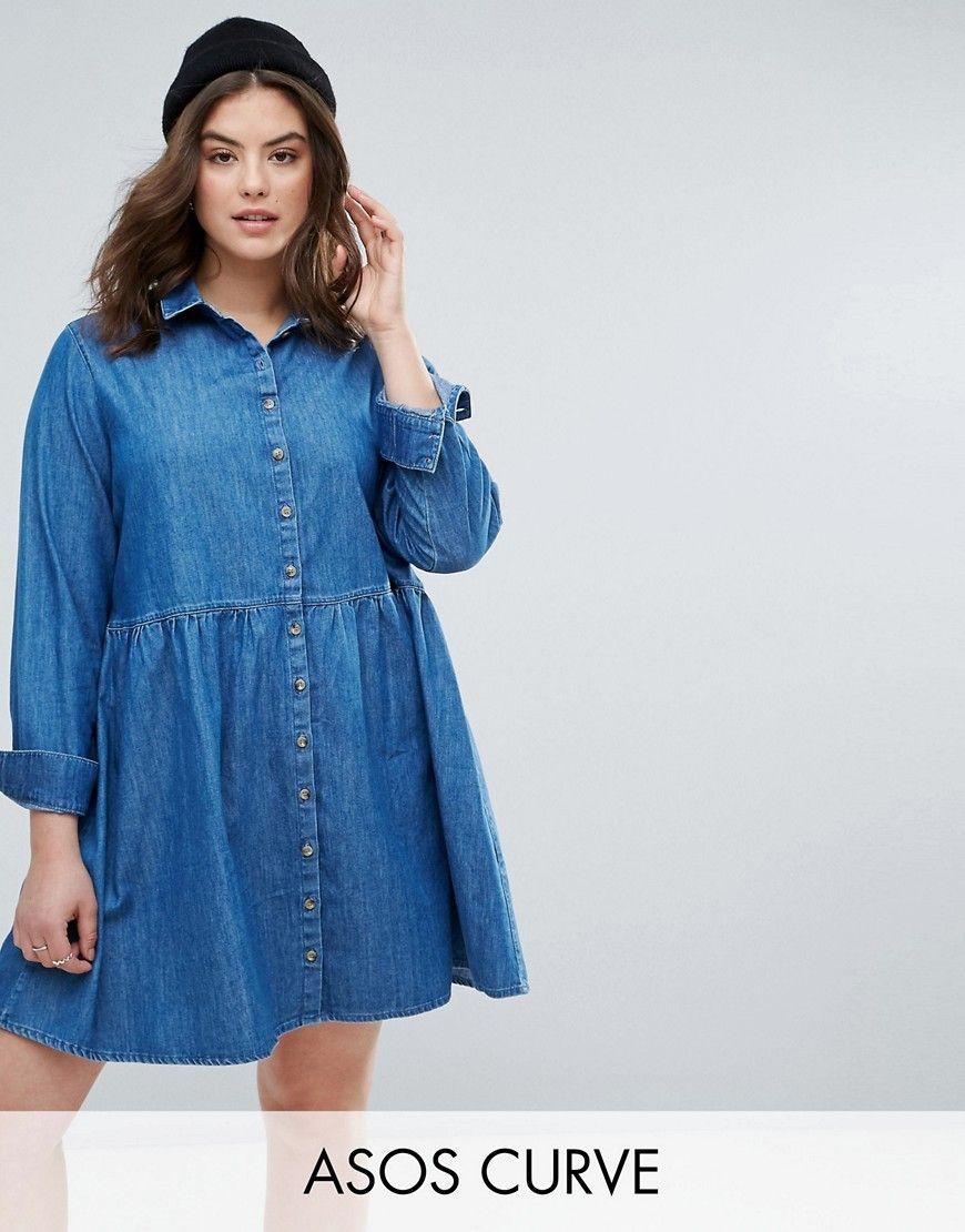 Buy it now asos curve denim smock shirt dress in mid wash blue