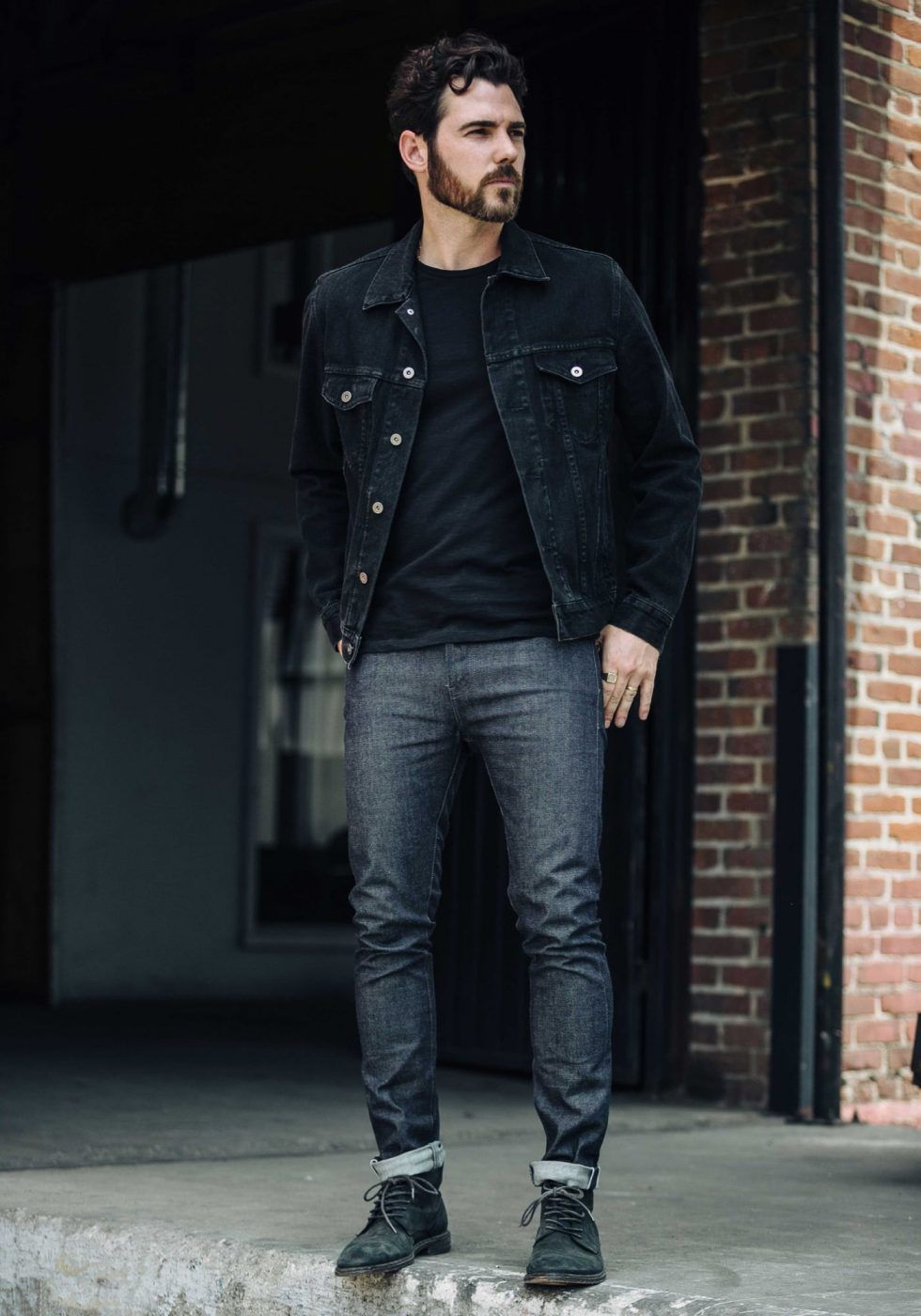 Style Guide How To Wear A Denim Jacket In Fall Black Denim Jacket Men Denim Jacket Men Mens Outfits