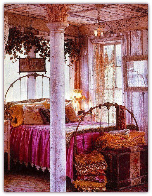 Boho Chic Bedroom A Seaside Home Lovely Colors Twin Beds Pink Pillow