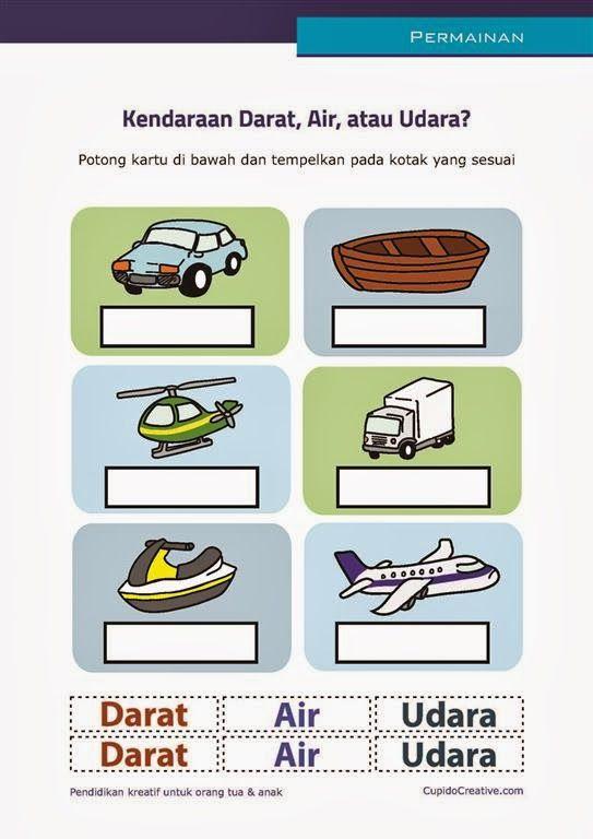 Permainan Gunting Anak Balitatk Membedakan Kendaraan Darat Air