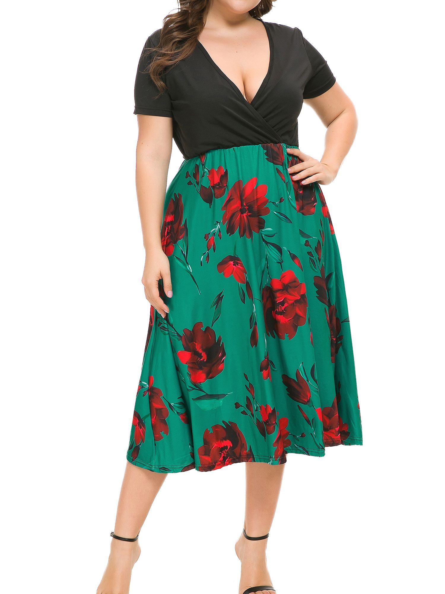 Boho Summer Dress Plus Size Women Bodycon Wrap V Neck Floral Prom Midi Short Sleeve Evening Cocktail Big Size Boho Summer Dresses Big Size Dress Summer Dresses [ 2000 x 1500 Pixel ]
