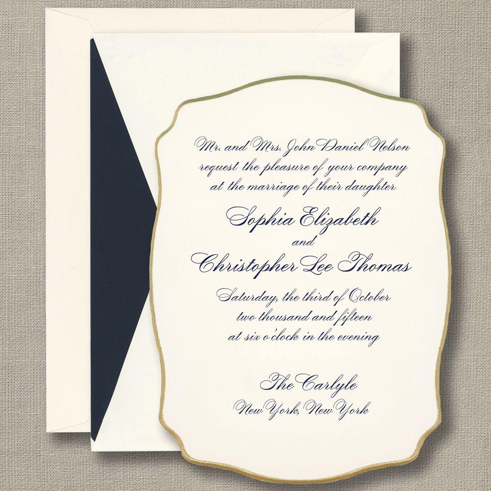 Engraved Beveled Gold Painted Edge Wedding Invitation From William Arthur Ecru Wedding Invitations Engraved Invitations Wedding Invitations
