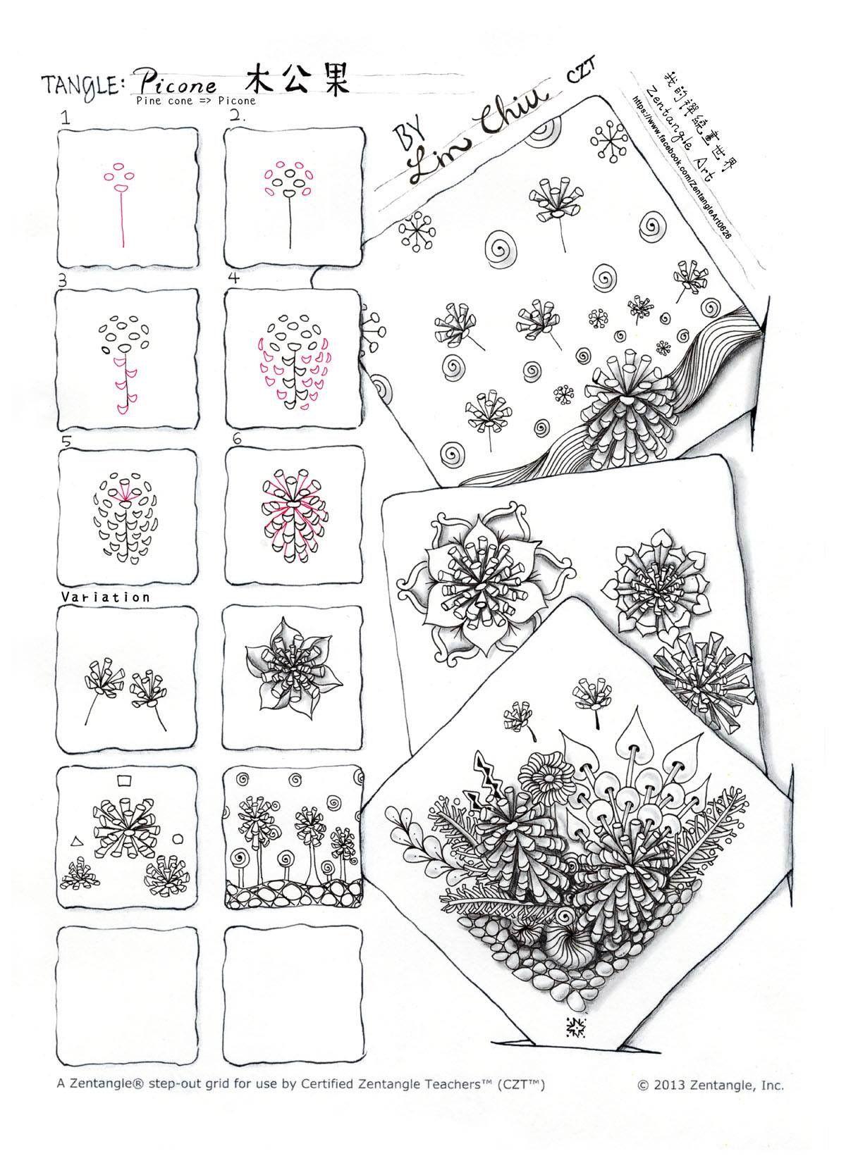 Picone pattern by Lyn Chiu    Zentangle