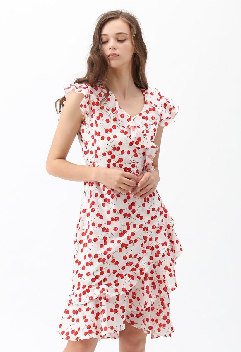 Ultra Sweet Cherry Printed Ruffle Dress In 2021 Dresses Lace Crop Tops Ruffle Dress [ 1200 x 823 Pixel ]