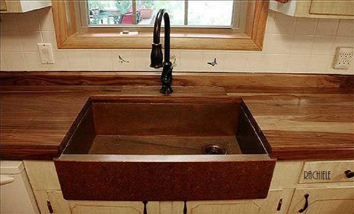 Copper Sink Farmhouse With Butcher Block Countertop Rubbed Oil