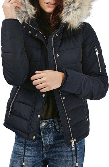1dda941ca Free shipping and returns on Topshop Woody Faux Fur Hood Puffer ...