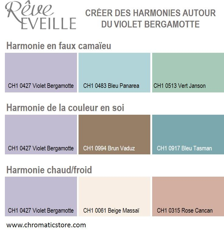 cr er des harmonies avec le violet bergamotte ch1 0427 harmonie mauve. Black Bedroom Furniture Sets. Home Design Ideas