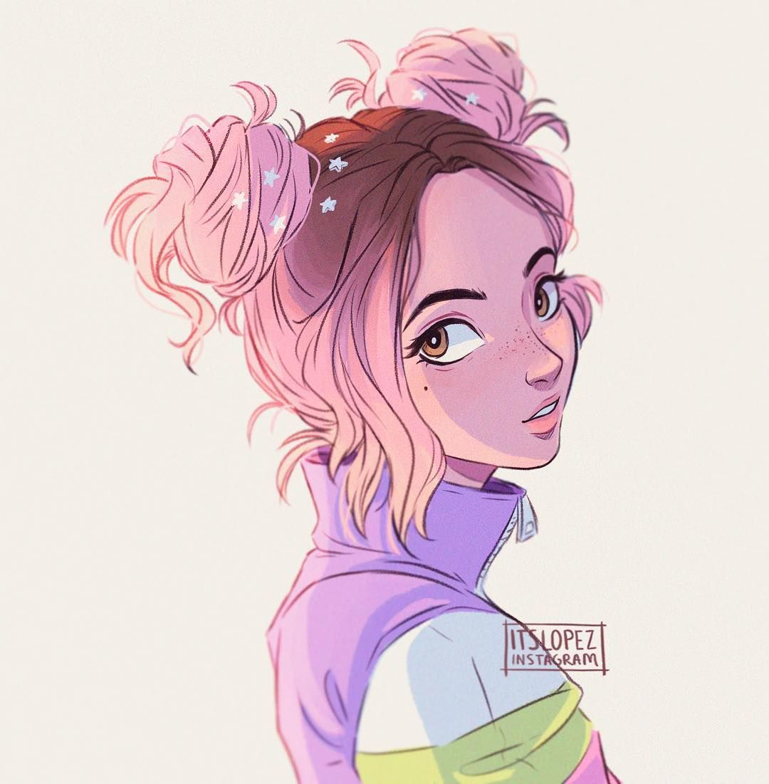 "42.9 mil curtidas, 202 comentários - Laia López (@itslopez) no Instagram: ""*kinda* self portrait! lol pink space buns are life ;v; """