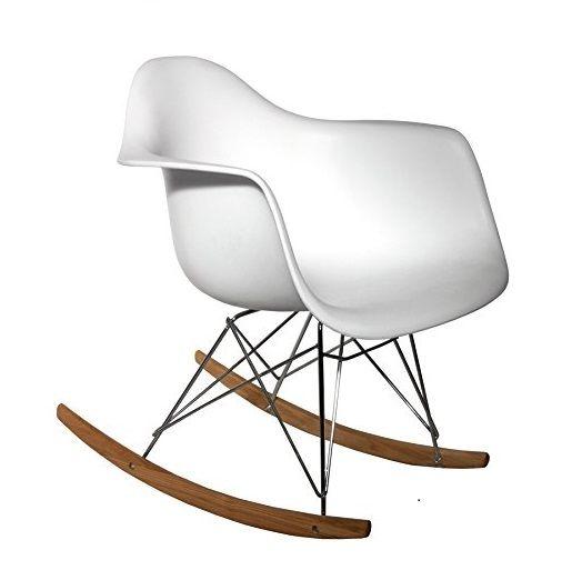 Sillón mecedora de diseño moderno de color blanco Tower Wood. Buena ...