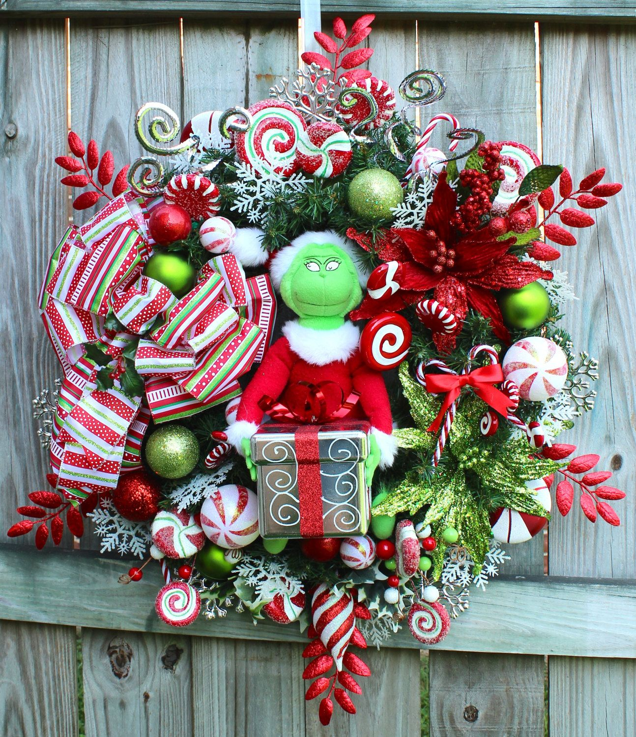 hallmark plush grinch doll shatterproof 6 inch gift box ornament 24 inch artificial canadian holiday
