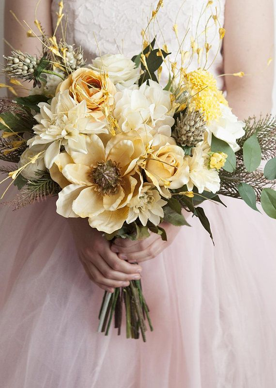 Gold Bouquet, Yellow Bouquet, Wedding Flowers, Gold Bridal Bouquet ...