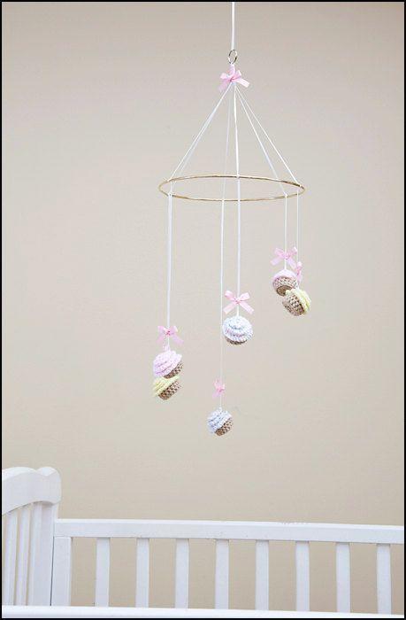 Items Similar To Cupcake Baby Mobile Crochet Nursery Decor On Etsy