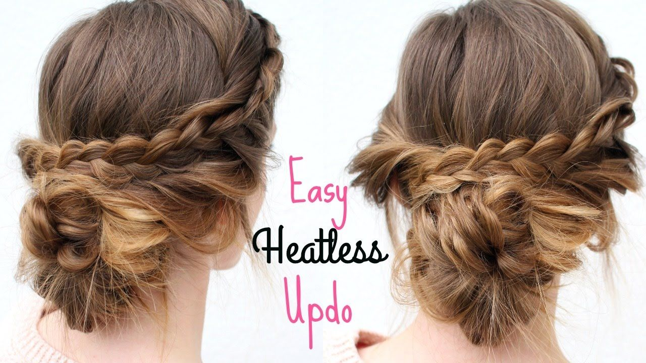 Everyday heatless braided updo heatless hairstyles