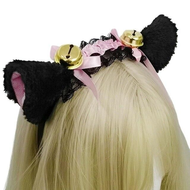Photo of Women Girls Ruffles Lace Faux Silk Headband Cute Plush Cat Ears Ribbon Tassels Bell Decor Hair Hoop Lolita Anime Cosplay – A