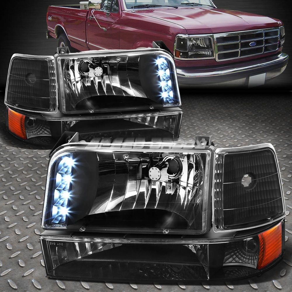 For 92 96 Ford F150 F250 F350 Black Amber Corner Led Drl Headlight Bumper Lamps Ford F150 F150 F250