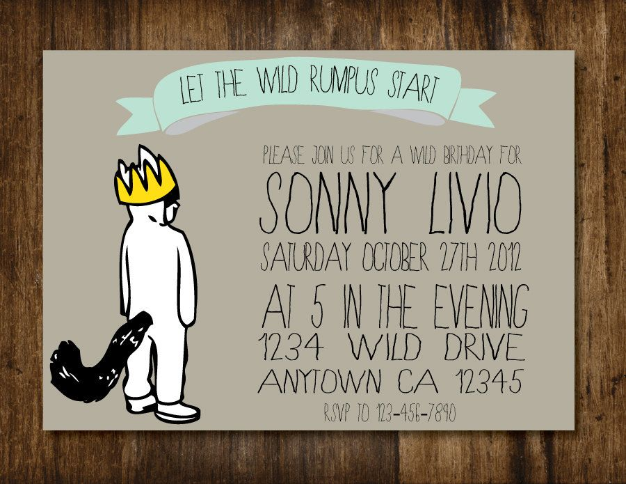 Where the Wild Things Are Max Birthday Party Baby Shower Invitation ...