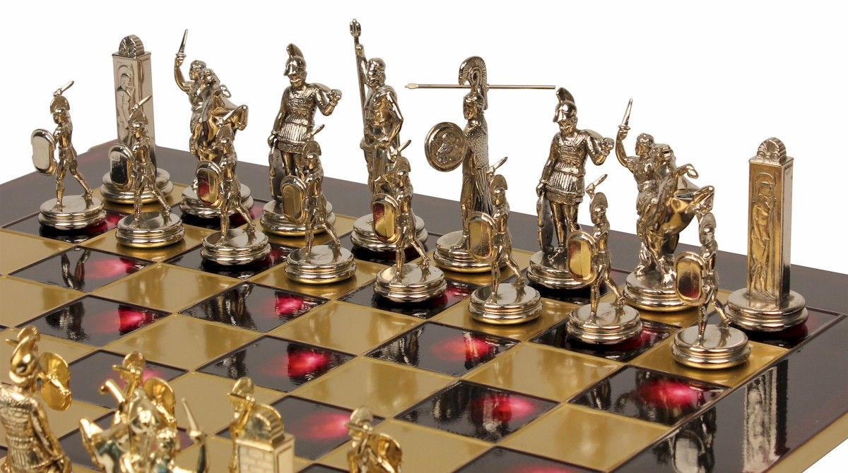 Poseidon Theme Chess Set Brass Silver Pieces Chess