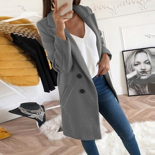 2019 new Overcoats 2019 Autumn Winter Long Sleeve Lapel sweater Women Plus Size XXXL Casual Oversize Outwear Jackets Coat -85 1