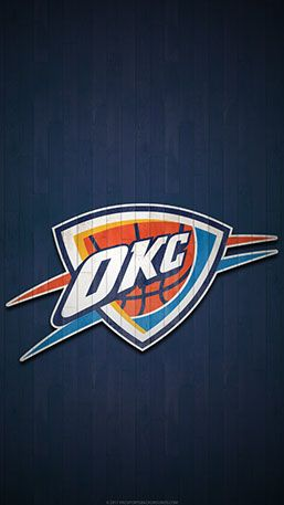 Oklahoma City Thunder Mobile Hardwood Logo Wallpaper V1 Oklahoma City Thunder Thunder Nba Oklahoma City Thunder Logo