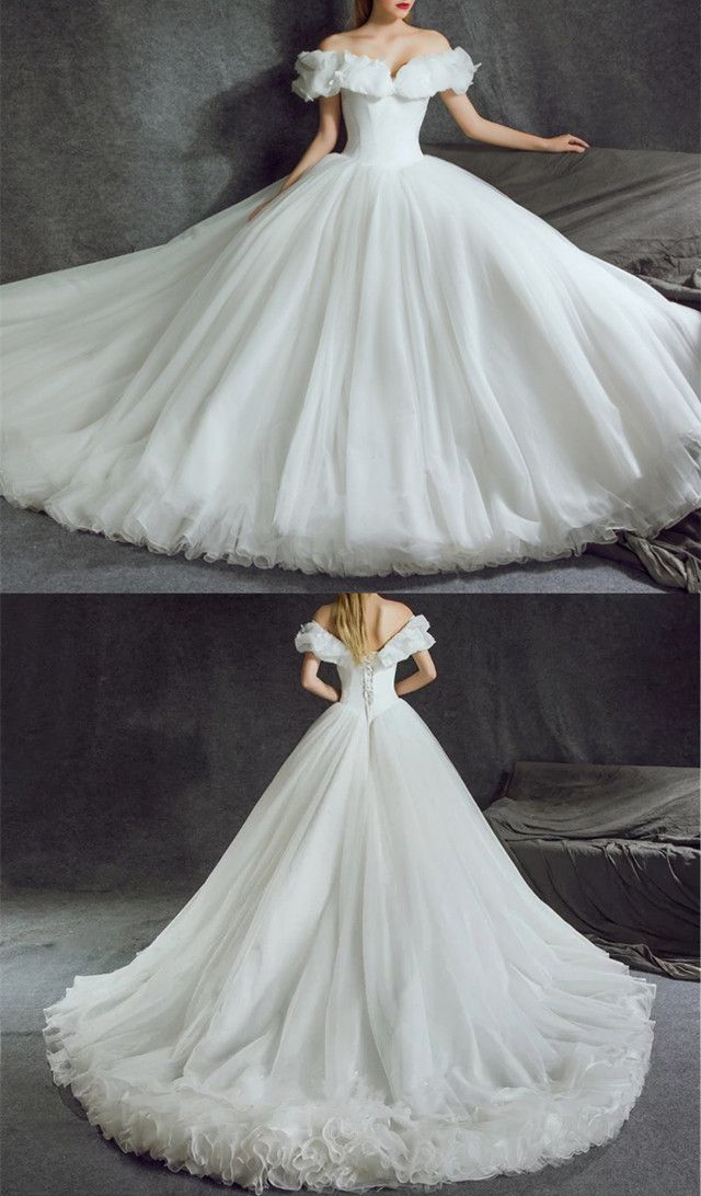 Off Shoulder Tulle Ball Gowns Cinderella Wedding Dresses 2018  c1770574a0cc