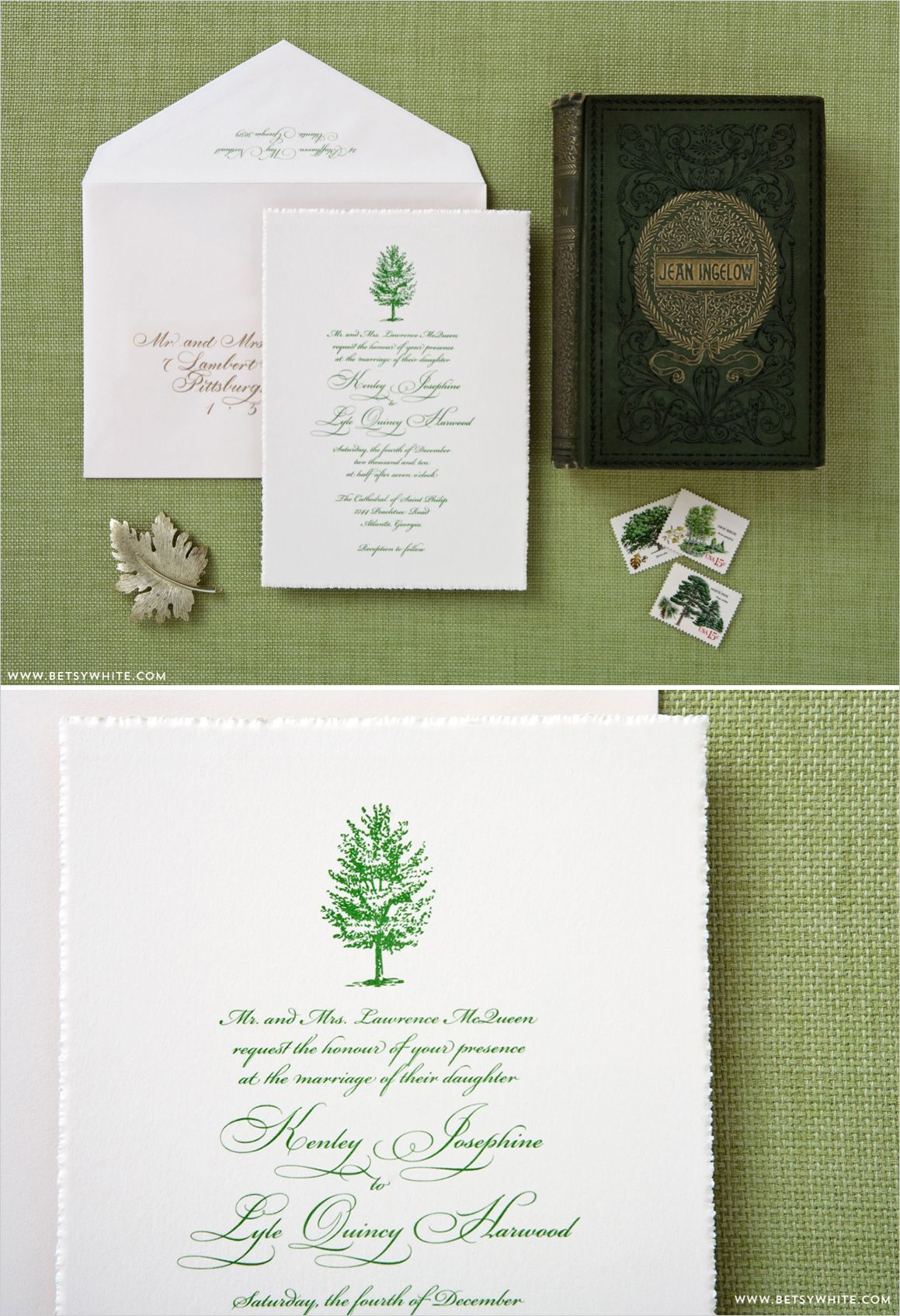 Beautiful Green Wedding Invitations Stationery Green Forest