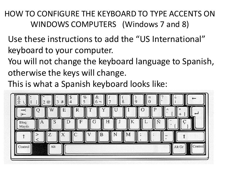 How to configure the keyboard to type accents on windows