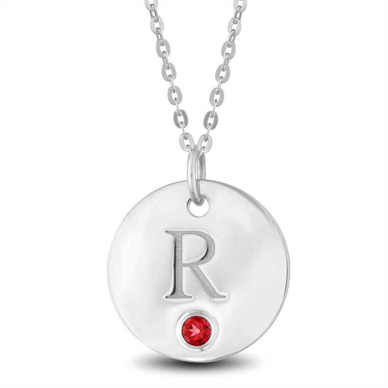 Initial R Necklace Initial R Disc Pendant With Personalized Etsy In 2020 Sterling Silver Disc Necklace Initial Necklace Disc Pendant