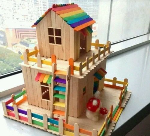 popsicle stick tree house google search bricolage adultes pinterest baton de glace. Black Bedroom Furniture Sets. Home Design Ideas