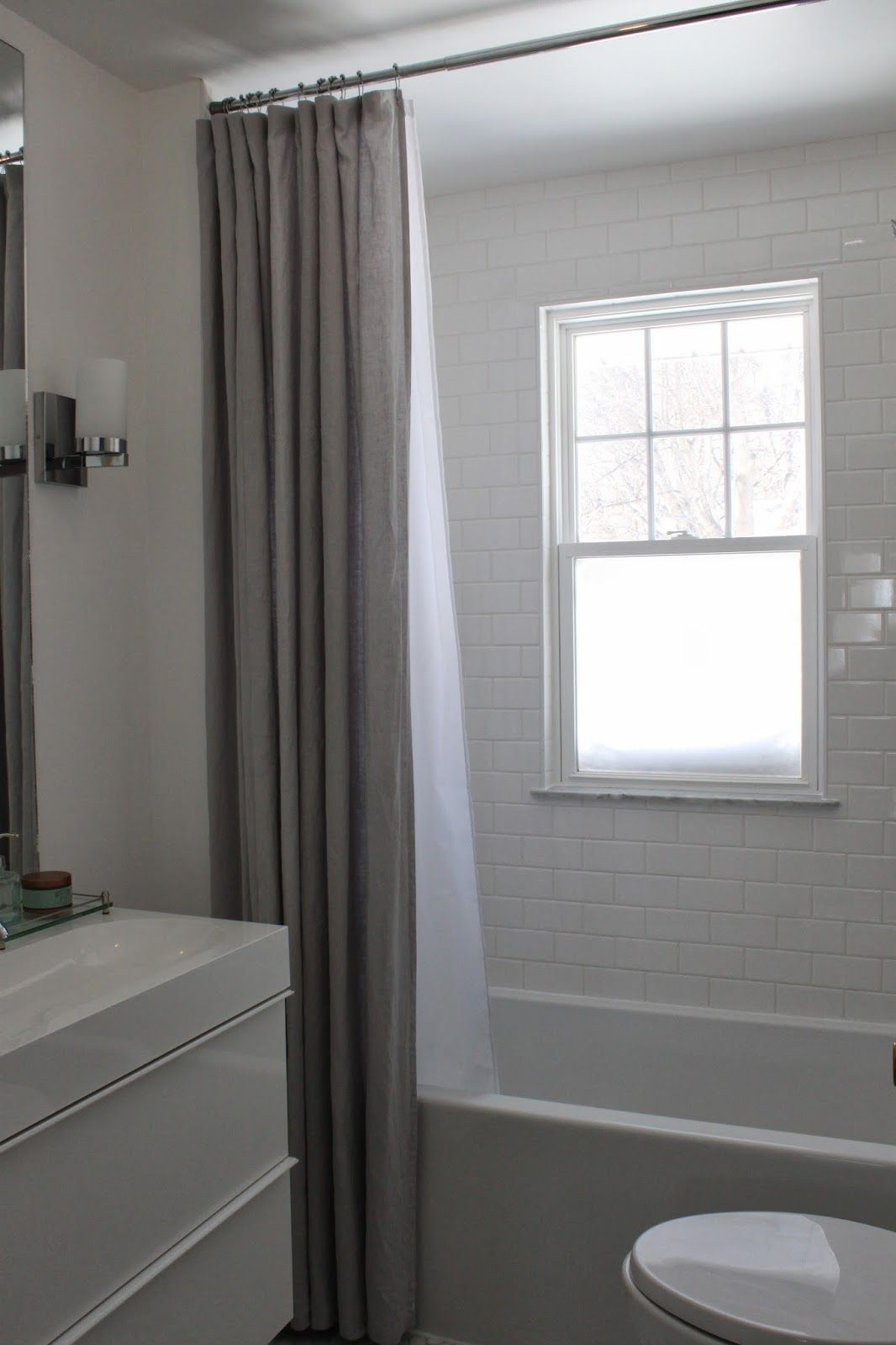 Modern jane our extra long shower curtain ikea ainawhite or grey