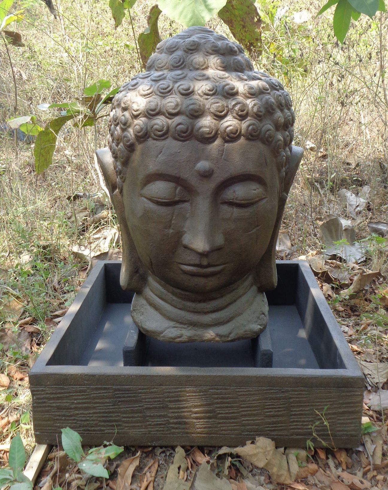 Fontaine de jardin t te de bouddha 1 m 30 brun - Statue bouddha pour jardin ...